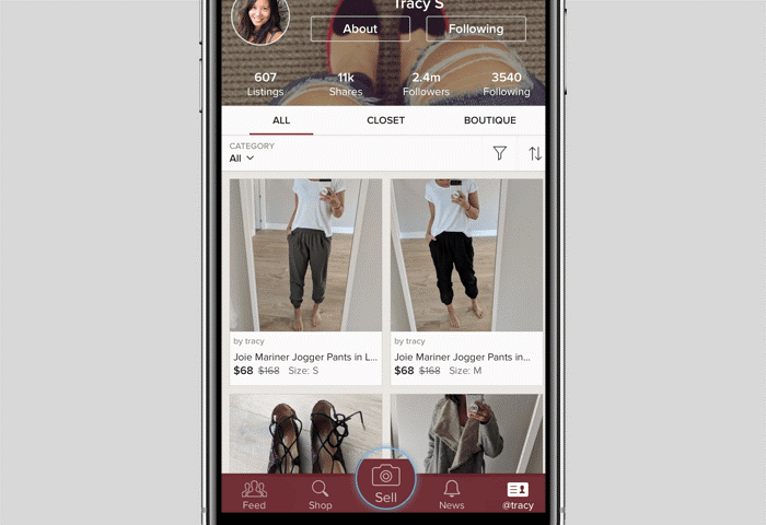 photo of poshmark's app on selling on poshmark