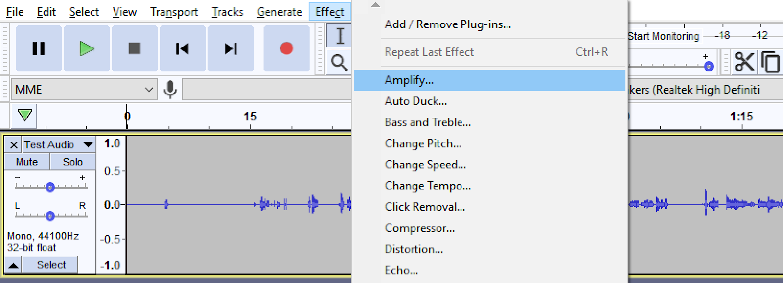 Effect menu in Audacity