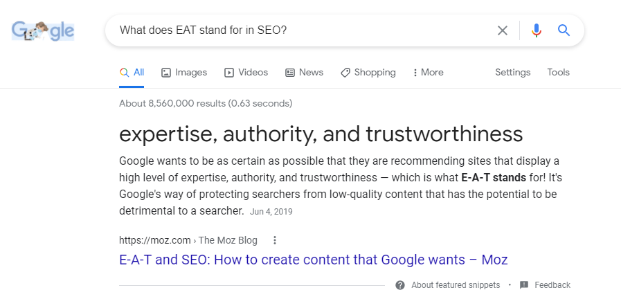 A featured snippet in Google search results