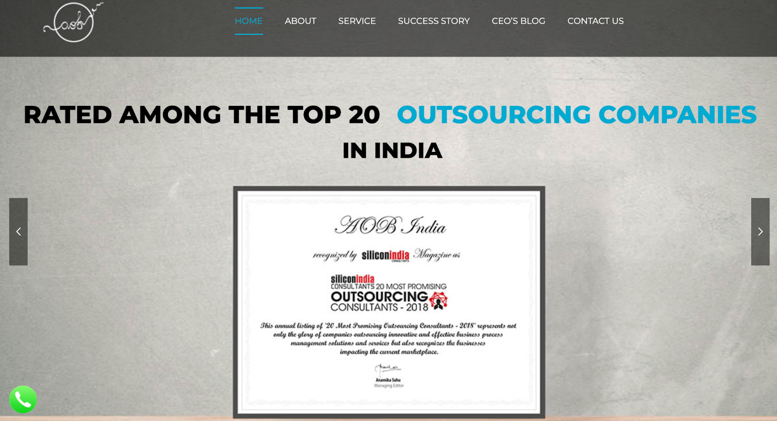 AOB India website – sales outsourcing company in India