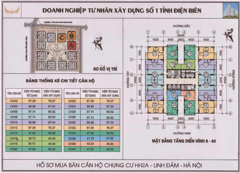 thiết kế mặt bằng căn hộ tầng 6 đến tầng 40 chung cư hh2a hh2b hh2c linh đàm