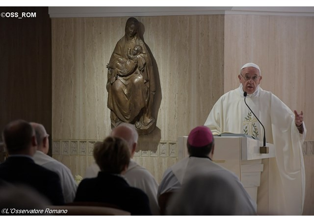Pope Francis at Tuesday's morning Mass in the Santa Marta residence. - OSS_ROM