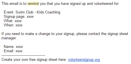 email signup sheet