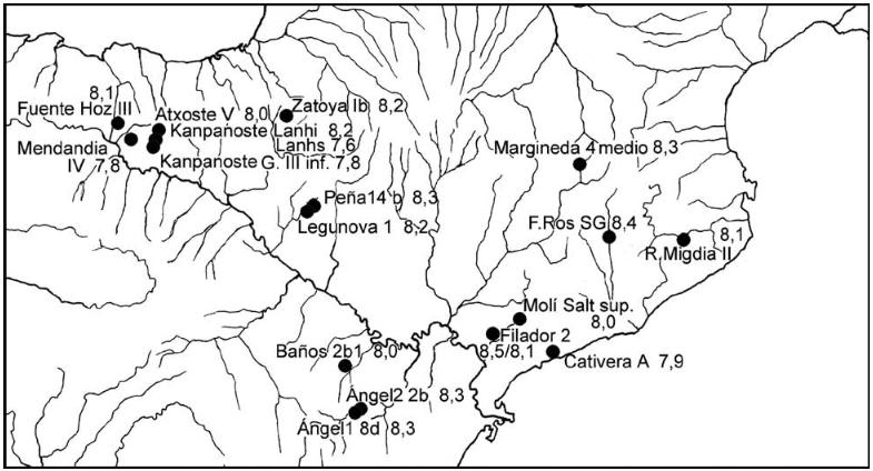 Distribución de los yacimientos con industrias «macrolíticas» posteriores al 8500 BP en el cuadrante nororiental de la península ibérica