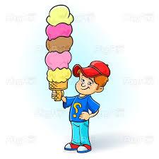 Kid eating big ice-cream - Vector Illustration • PixyPen