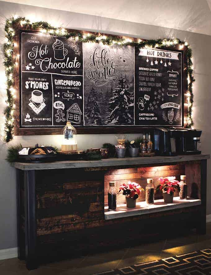 Cozy Cabin Chalkboard Coffee Bar