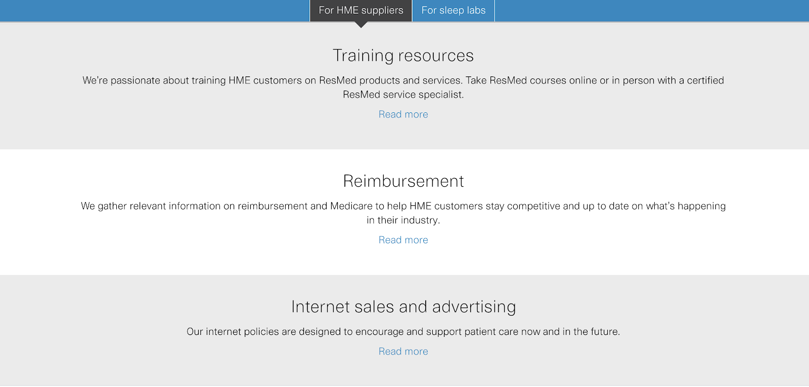 ResMed resources page shows their offerings for SEO purposes.