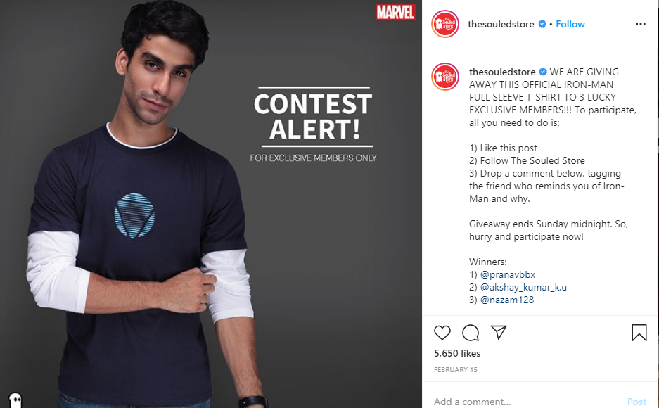 Example of an online competition from The Souled Store.