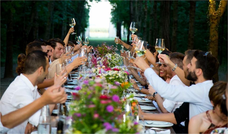 人, 男性, 女性, アウトドア, ウェディングパーティー, 結婚