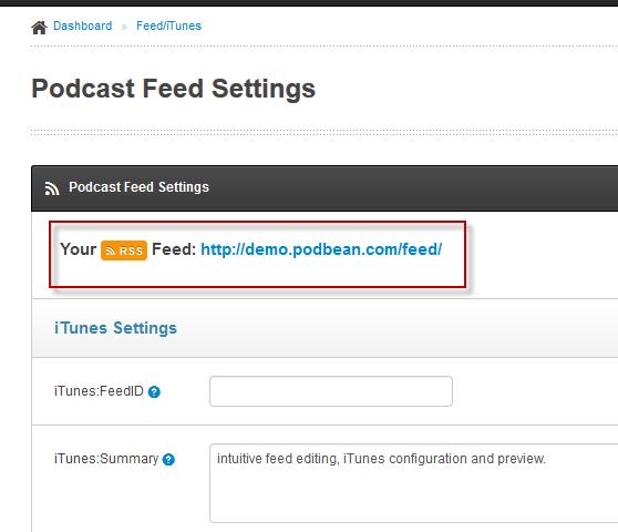 Podbean Podcast Feed Settings