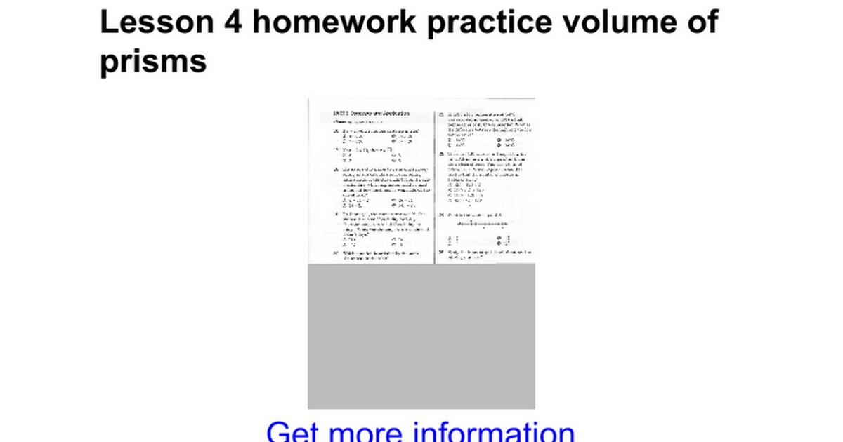 Lesson 4 Homework Practice Volume Of Prisms Google Docs