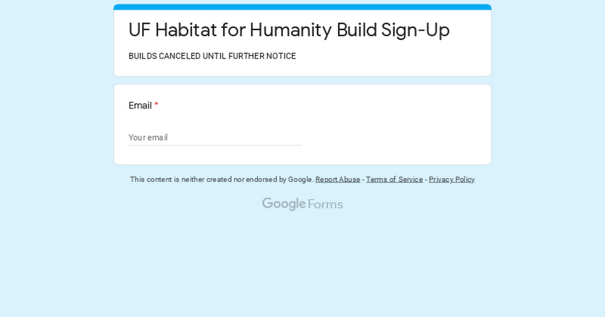 UF Habitat for Humanity Build Sign-Up