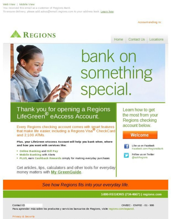 "Regions ""bank on something special"" banking email design"