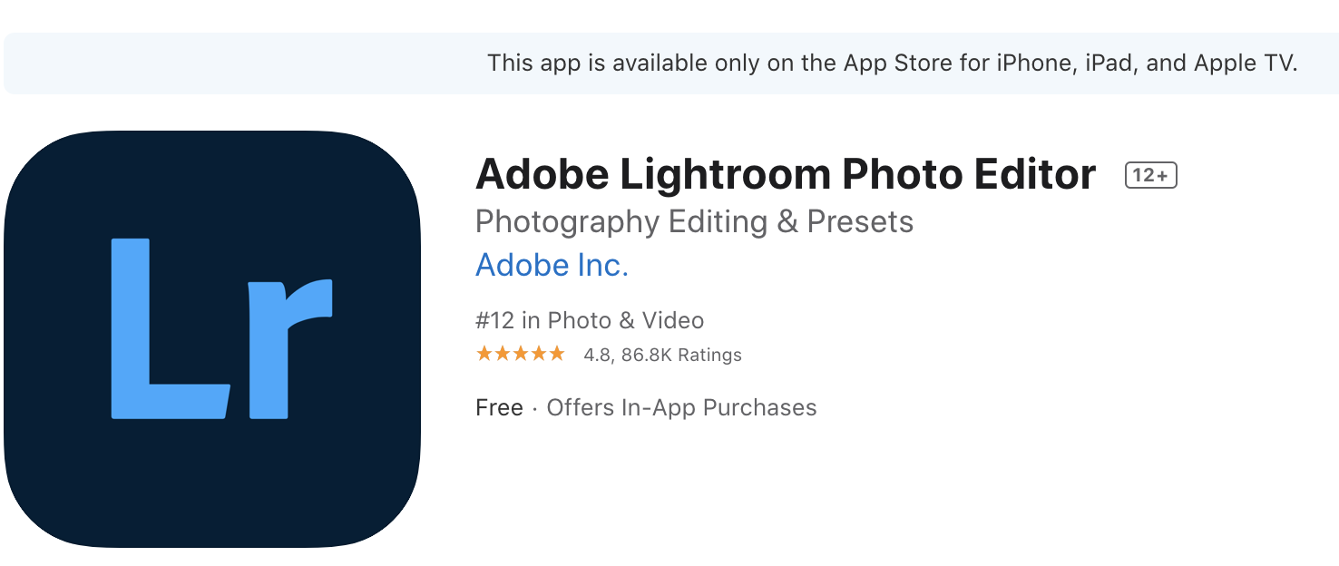 Lightroom for iPhone app