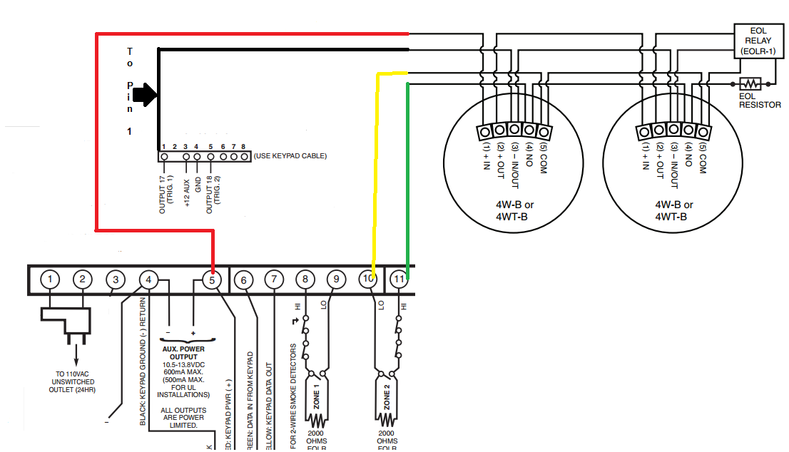 How do I install a 4-wire smoke on my VISTA-P system? - Alarm Grid  Wire Smoke Detector Harness on open wire detector, 4 wire relay, 4 wire oven, 8 wire smoke detector, 2 wire smoke detector, 4 wire intercom, 4 wire range, 3 wire smoke detector, 4 wire furnace, 4 wire garage door opener, 4 wire generator, 4 wire switch, 4 wire pull stations, 4 wire stove, 4 wire duct detectors,