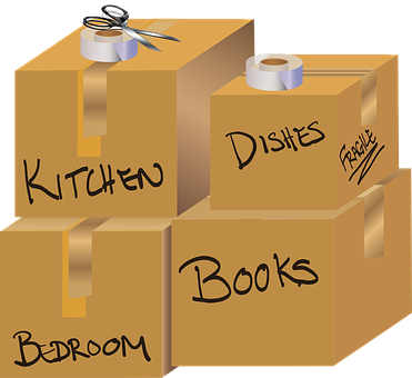 Graphic, Moving Boxes, Boxes, Scissors