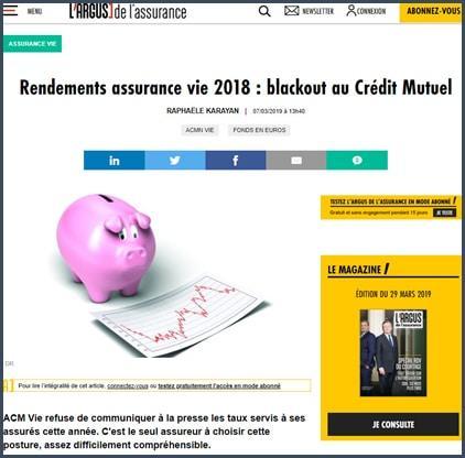 Argus de l'Assurance rendements assurance vie 2018