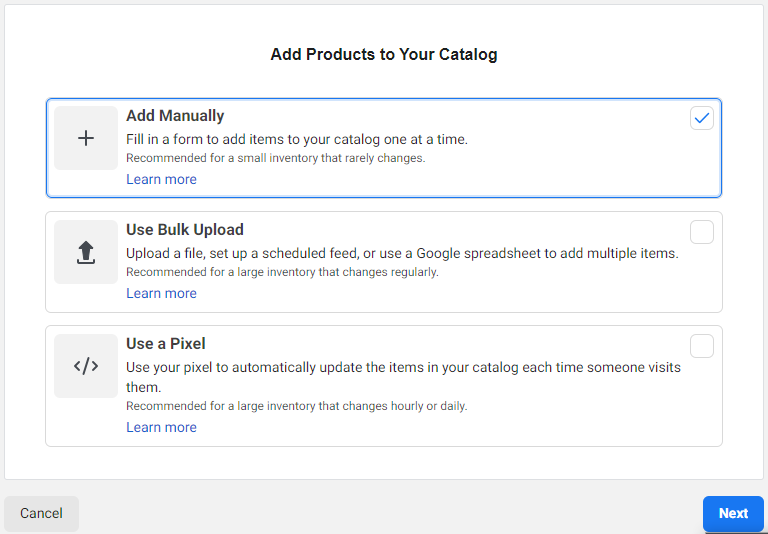 social media shops steps in creating facebook shops add products to catalog