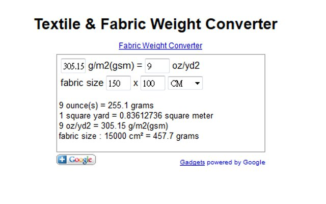 Textile Fabric Weight Converter Chrome Web Store