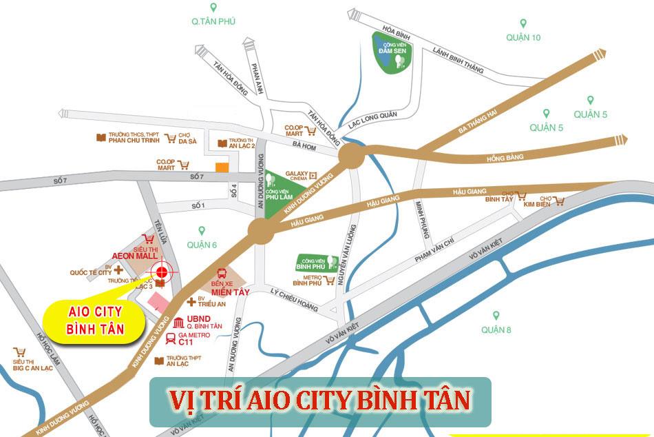 Vị trí tiện ích của khu căn hộ cao cấp Aio City Bình Tân
