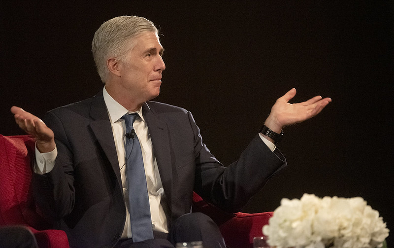 Justice Neil Gorsuch speaks at the LBJ Presidential Library on Sept. 19, 2019.