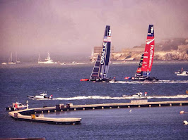 Team USA and Team New Zealand at Americas Cup in San Francisco