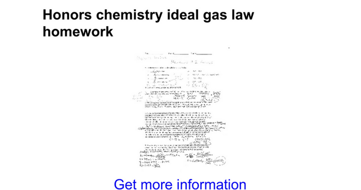Honors chemistry ideal gas law homework - Google Docs
