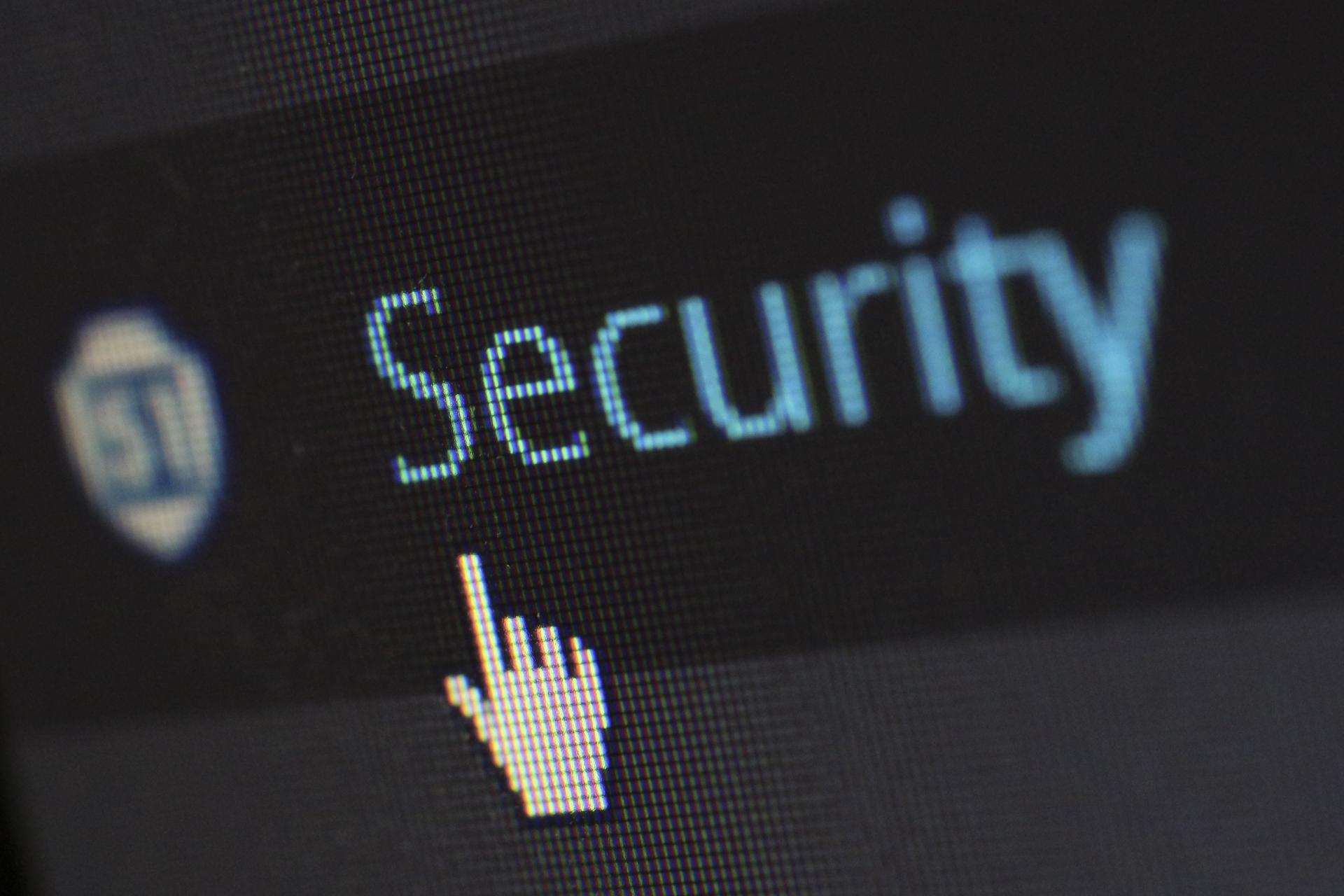 Security written on a computer screen
