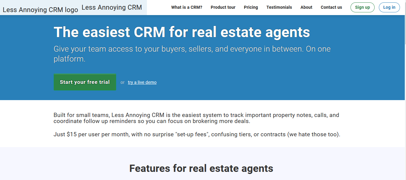 Less Annoying CRM for real estate agents