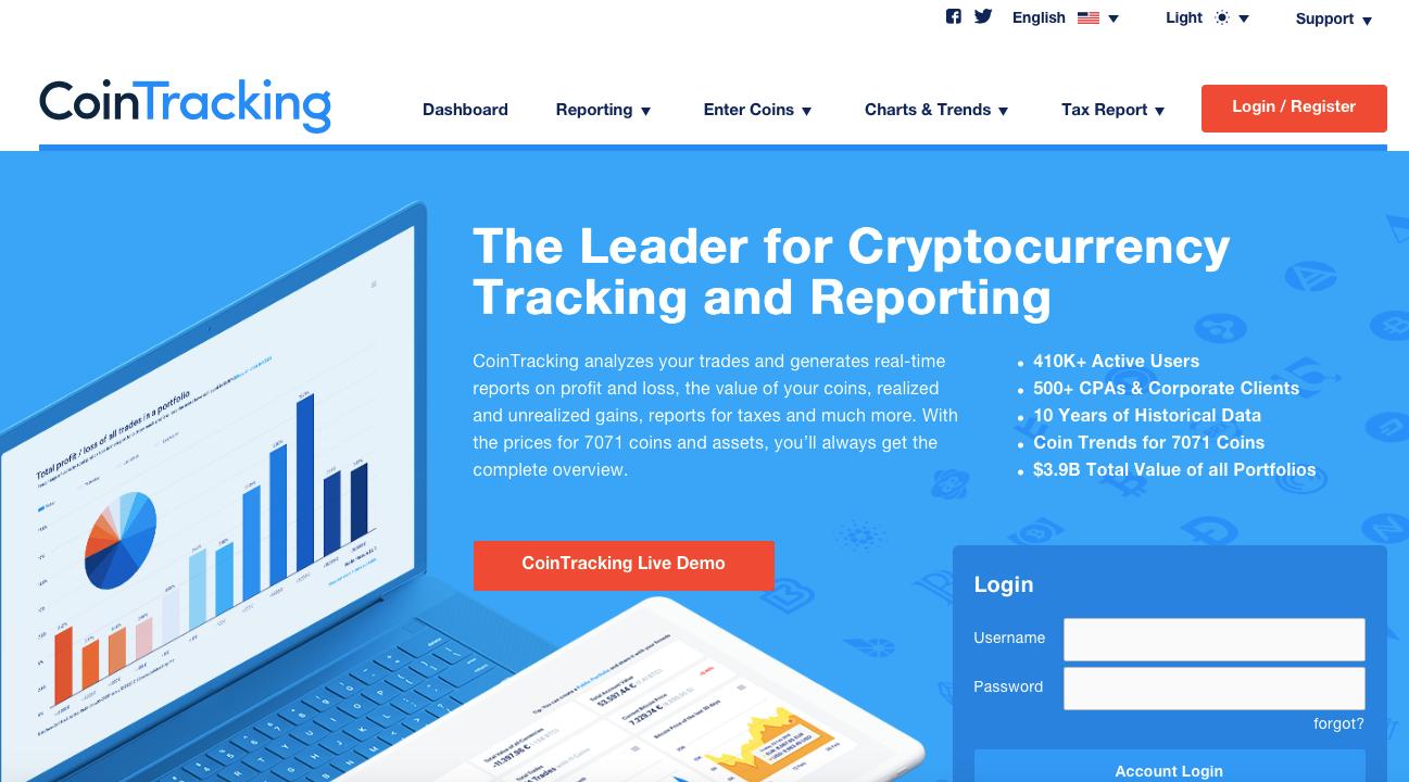 CoinTracking website screenshot