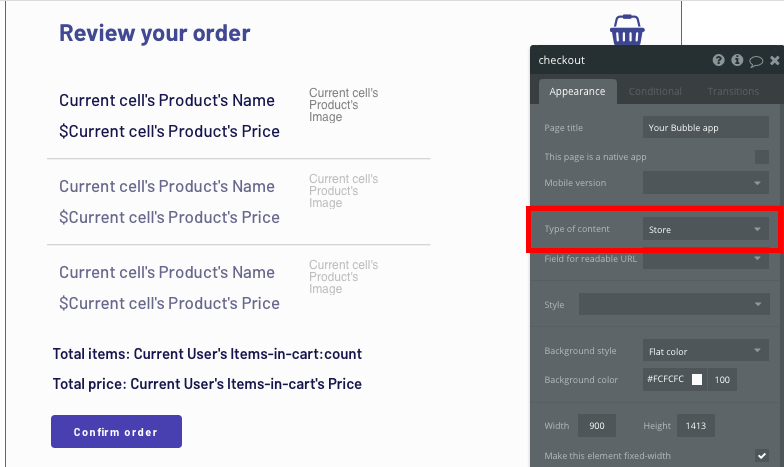 Configuring the page type of a no-code Shopify checkout