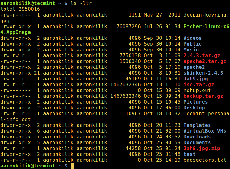 Sort ls Output Reverse by Date and Time