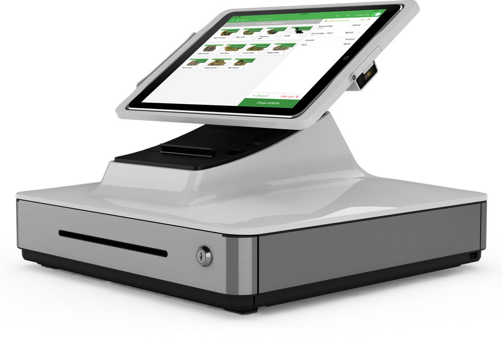An image of Greenline Cannabis POS being used by retailers.