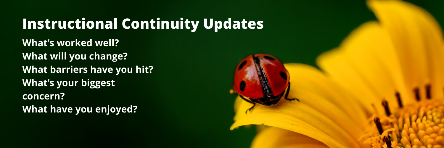 Instructional Continuity Updates What's worked well?  What will you change?  What barriers have you hit?  What's your biggest concern?  What have you enjoyed?