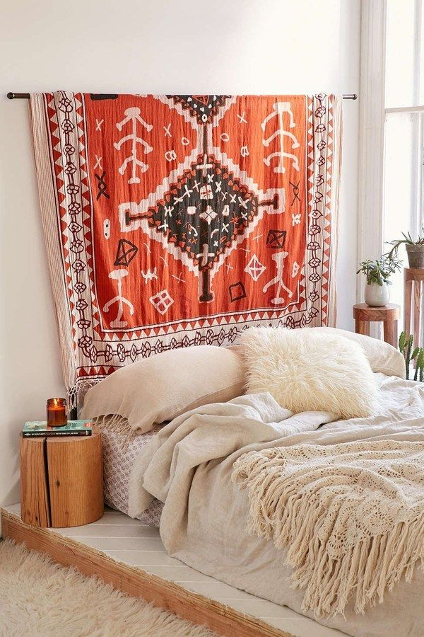 Hang a Large Patterned Rug on an Empty Wall