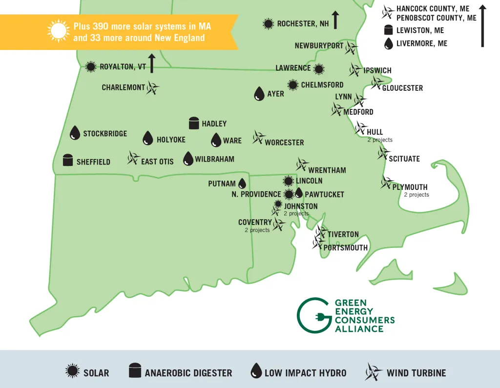 Map of Solar, Low Impact Hydro, Wind Turbine, & Anaerobic Digester renewable energy sources in Massachusetts, Connecticut, Rhode Island, New Hampshire, Maine, & Vermont