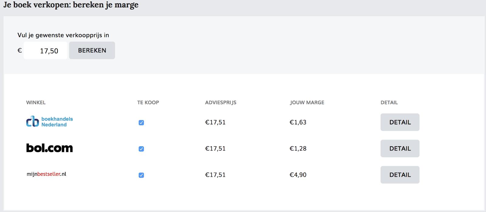 voorbeeld van de prijscalculator van mijnbestseller.com