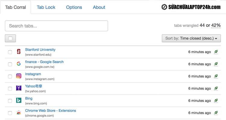 Giao diện của add-on cho Chrome Tab Wrangler