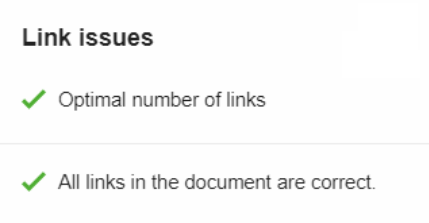 link issues SEO writing assistant