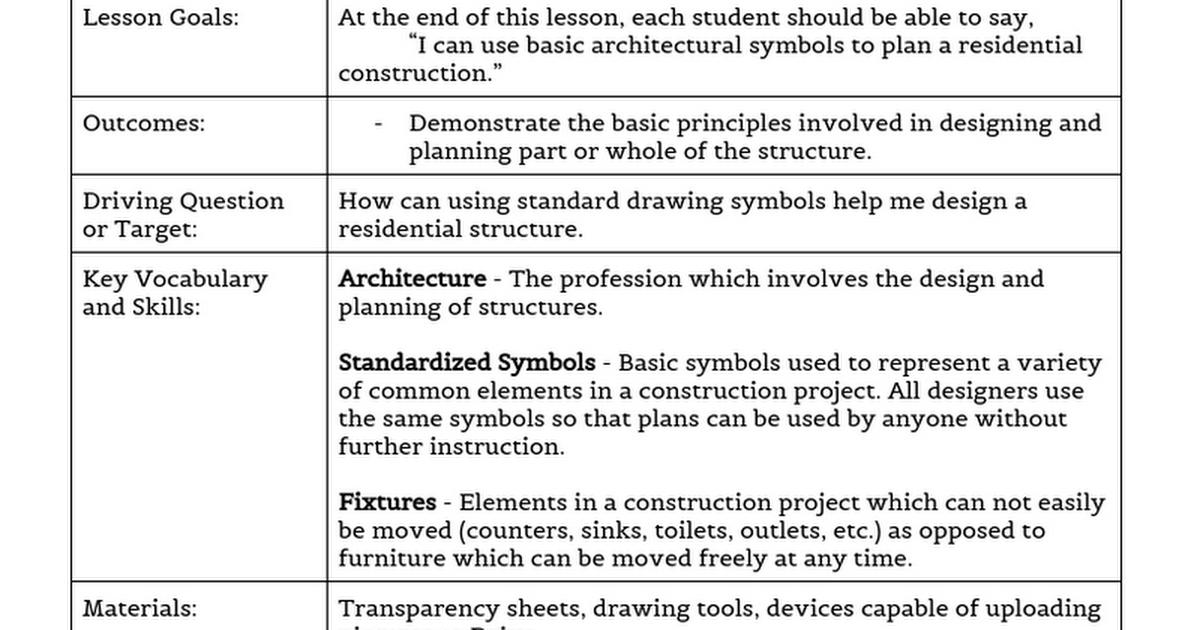Architectural Symbols Google Docs