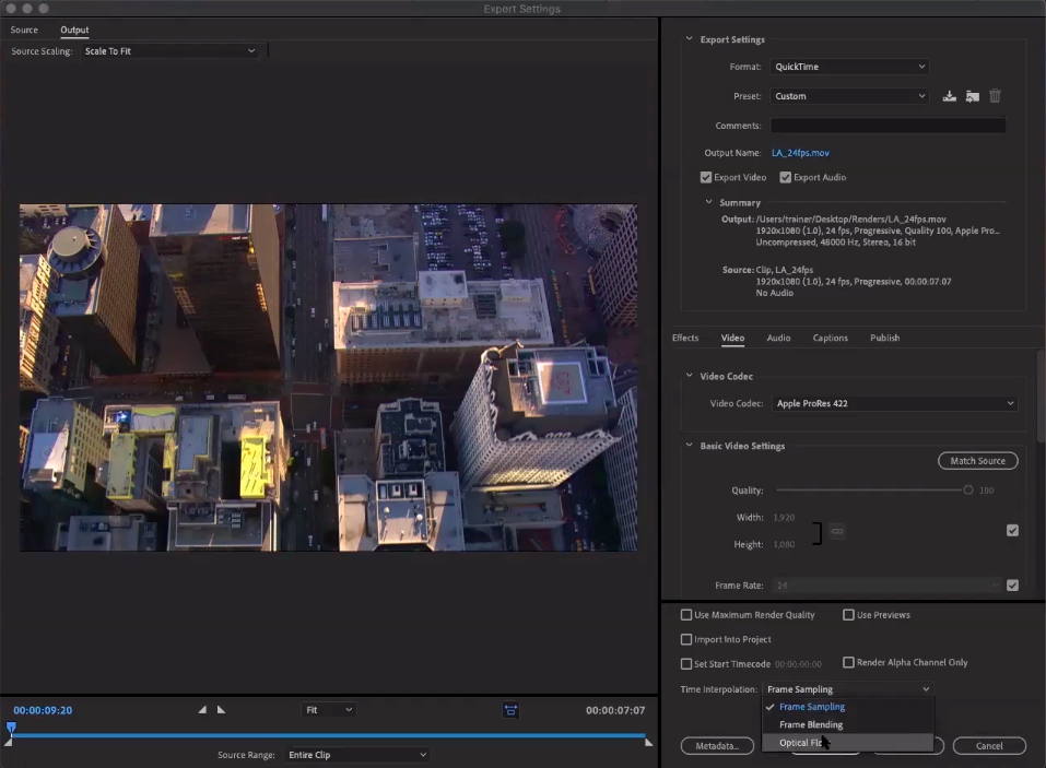 The export dialog with options for Time Interpolation methods for changing Frame Rate.