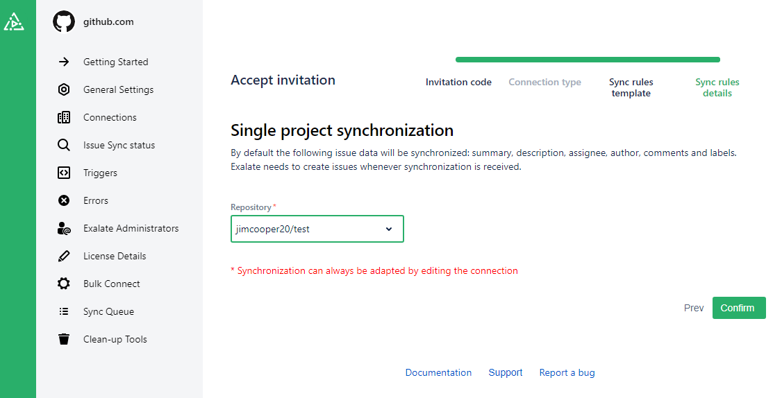 project type for a github jira sync