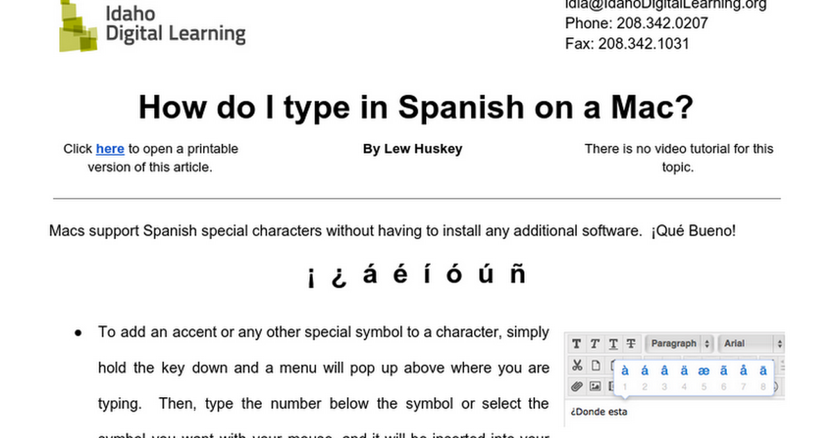 How To Type Spanish Characters On A Mac Google Docs