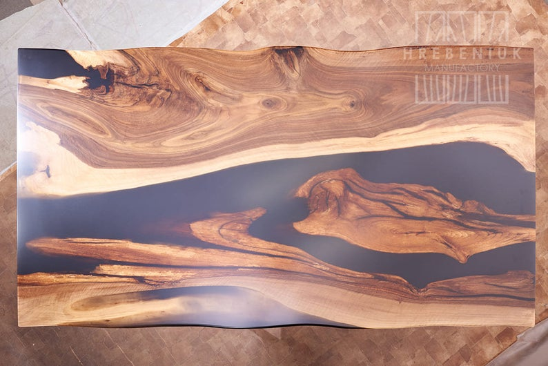 Black Epoxy River Dinning/ Dining Table Top