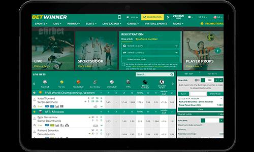 BetWinner mobile version for tablet