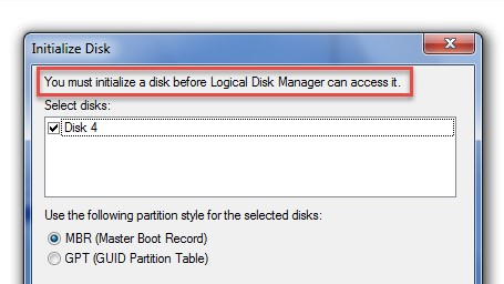 You must initialize a disc before Logical Disk Manager can access it