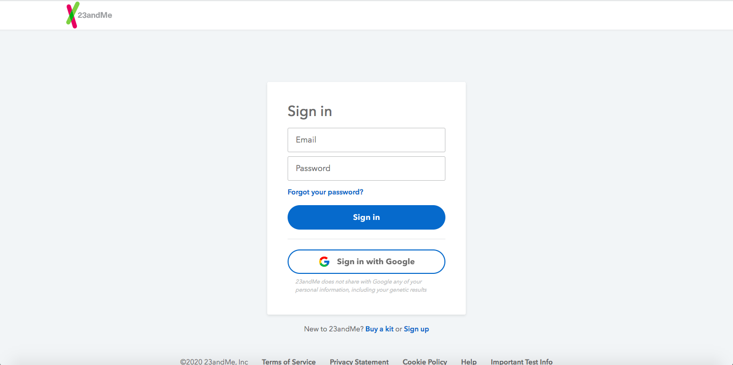 23andme login page