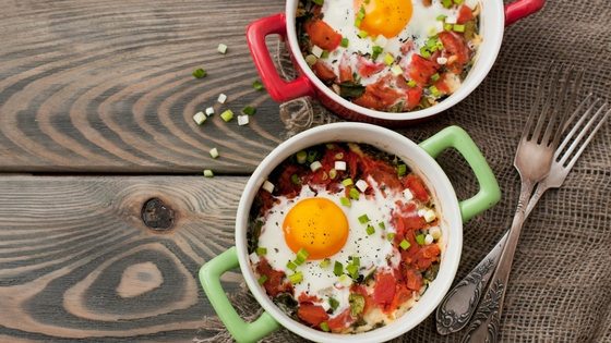 Breakfast hash with a fried egg on top