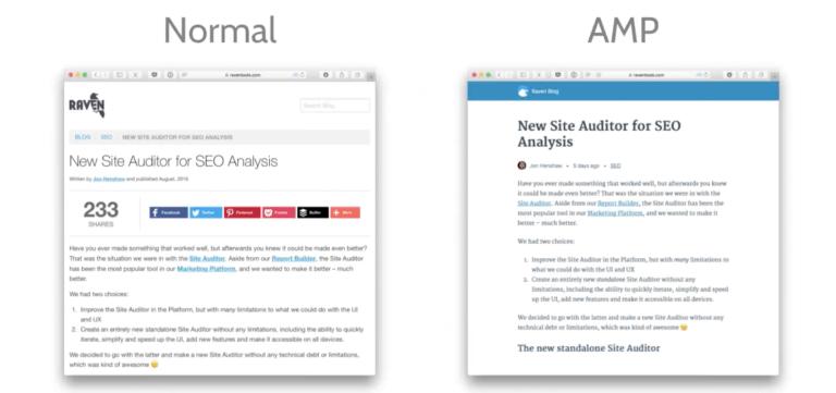 normal vs amp version