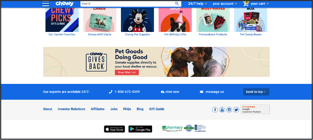 chewy website example